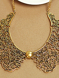 Carved Metal Texture Collar Necklace