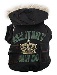 Military Style Puffy Jacket with Hoodie for Dogs and Cats (XS-XXL)