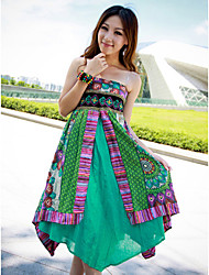 Cotton Strapless Maxi Dress In Green