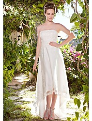Lanting Bride Sheath/Column Petite / Plus Sizes Wedding Dress-Asymmetrical Strapless Tulle