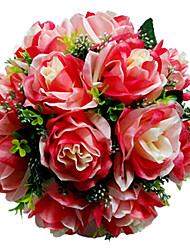 Red Tinted Rose Satin Bridal Bouquet
