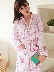 Printed Over-lapped Two-pieces Nightwear