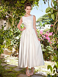 LAN TING BRIDE A-line Princess Wedding Dress - Classic & Timeless Reception Simply Sublime Ankle-length Scoop Satin withLace Ruche Sash /