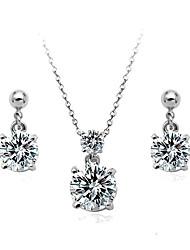 European Style Fashion Elegant Shiny Cubic Zirconia Necklace & Earrings Set