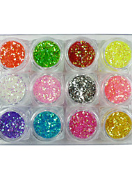 12 Colors Nail Art Glitter Dust Powder Decoration