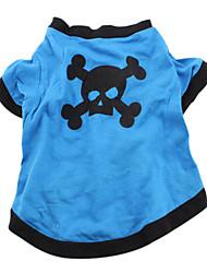 Tshirt em Algodão para Cachorros - Caveira (Azul, Vários Tamanhos)