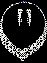 Silver Pearl Two Piece Gorgeous Piercing Design Ladies' Wedding Jewelry Set(45 cm)