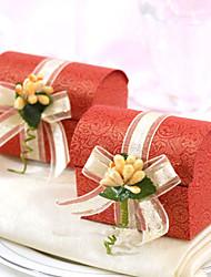 rouge au trésor boîte de faveur poitrine avec une fleur (jeu de 12)