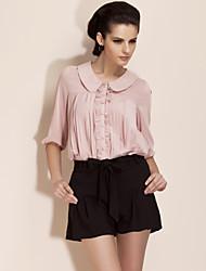 ts rodada colarinho da camisa blusa pregueada (mais cores)