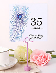 Place Cards and Holders Personalized Square Table Number Card - Peacock Feather (Set fo 10)