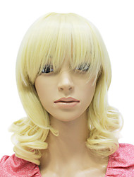 Capless Medium Long Synthetic Blonde Curly Wig