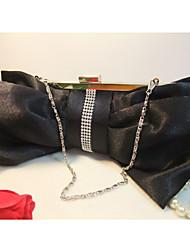 Silk Bow Snap Closure Crystal Chain Clutch