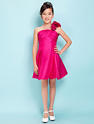 Knee-length Taffeta Junior Bridesmaid Dress A-line / Princess One Shoulder Empire with Flower(s) / Criss Cross