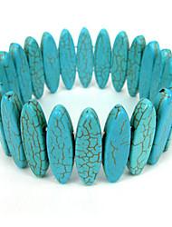 Bracelet turquoise volet ovales dames élastiques des