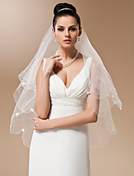 Wedding Veil One-tier Fingertip Veils Pencil Edge / Pearl Trim Edge 37.4 in (95cm) Tulle White / IvoryA-line, Ball Gown, Princess,
