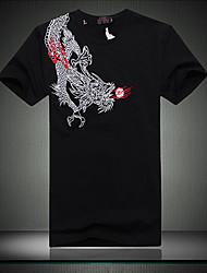 algodão homens chineses de impressão dragão t-shirt