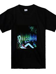 Tshirt LED Acitvada por Som e Música - Fones (3 x Baterias AAA)