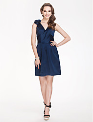 Short / Mini Satin Bridesmaid Dress - Sheath / Column V-neckApple / Hourglass / Inverted Triangle / Pear / Rectangle / Plus Size / Petite