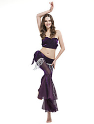 Belly Dance Outfits Women's Training Polyester Draped / Tassel(s) 2 Pieces Sleeveless Dropped Top / Pants