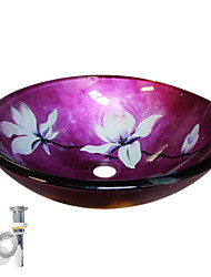 Flower Tempered Glass Vessel Sink With Pop up and Mounting ring