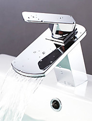 Contemporary Brass Waterfall Bathroom Sink Faucet - Chrome Finish