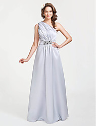 Lanting Bride® Floor-length Satin Bridesmaid Dress - A-line / Princess One Shoulder Plus Size / Petite with Beading / Side Draping