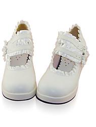 Zapatos Lolita Clásica y Tradicional Hecho a Mano Tacón Cuña Zapatos Un Color 4.5 CM Blanco Para MujerCuero Sintético/Cuero de