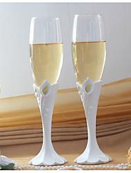 scolpito Calla Lily design nozze tostatura flauti