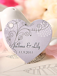 Personalized Heart Shaped Favor Tag - Light Purple Flowers (Set of 60)
