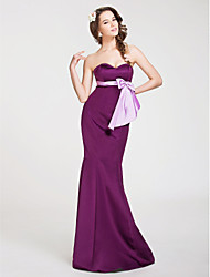 Lanting Bride® Floor-length Satin Bridesmaid Dress - Trumpet / Mermaid Strapless / Sweetheart Plus Size / Petite withBow(s) / Sash /