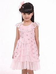 A-line Scoop Lace Tiered Girl Dress