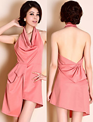 TS Cowl Neck Draped Flow Backless Dress