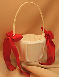 Ivory Flower Girl Basket With Red Ribbon