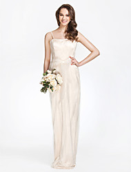 Lanting Bride® Floor-length Tulle / Charmeuse Bridesmaid Dress - Sheath / Column Strapless Plus Size / Petite withBow(s) / Draping / Sash