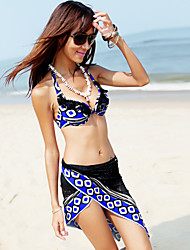 Colorful Stripe Steel Pallet Underwire Separate Swimming Suit