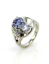 lussuoso viola cubic zirconia platinato forma rotonda anello di moda