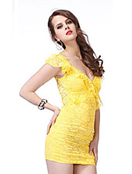 Attractive Woman Yellow Party Dress