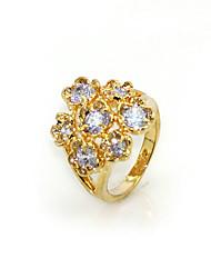 wunderschönen Zirkonia platiniert Blütenform Mode-Ring