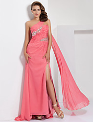 Prom / Formal Evening Dress - Furcal A-line One Shoulder Sweep / Brush Train Chiffon withBeading / Crystal Detailing / Side Draping /
