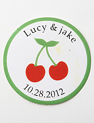 Personalized Round Favor Stickers – Cherry (Set of 36)
