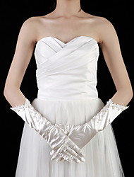 Elbow Length Fingertips Glove Satin Bridal Gloves