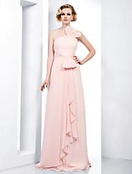 Vestito - Rosa Perla Sera/Graduazione/Ballo Militare Tubino Monospalla/Canotta A Terra Chiffon Taglie grandi