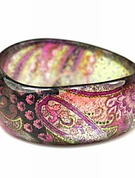 Ladies' Resin Round Bangles Classic Bracelet In Pink Veins