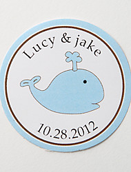 Personalized Round Favor Stickers – Blue Whale (Set of 36)