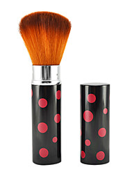 Retractable Cosmetic Face Makeup Brush in Platinum Black Red Spot Tube