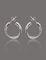 Gorgeous Silver Plate Multi Line Stud Earring