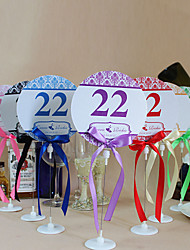 Place Cards and Holders Round Shape Table Number Cards With Holders - Set Of 10(More Colors)