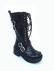 negro cuero de la PU plataforma de 7,5 cm punk, lolita botas