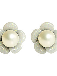 Flower Pattern Pearl Earrings
