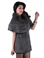 Short Sleeve Party/Evening Rabbit Fur Fox Fur Collar Coat (More Colors)
